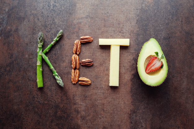 Keto word made from ketogenic food Premium Photo