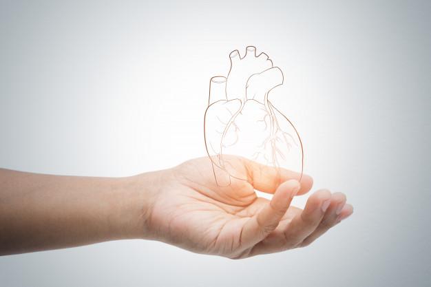 Man holding heart illustration against gray wall Premium Photo